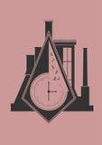Abstract industrial wall clock. Vector illustration royalty free illustration