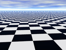 Abstract infinite chess floor and cloudy sky. Abstract infinite chess floor and cloudy blue sky Stock Photo