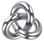 Abstract infinite loop knot shape. Creative abstract 3D render illustration of shiny metal infinite triangle torus knot loop isolated on white background Royalty Free Stock Image