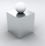 Abstract Info 3D - white cube and sphere Stock Photography