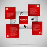 Abstract info graphic with red squares Stock Photo