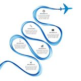 Abstract infographic airplane and wave a blue smoke. Stock Photo