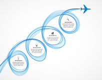 Abstract infographic airplane and wave a blue smoke. Royalty Free Stock Images