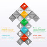Abstract infographic arrow design template. Arrow consists of colorful squares with 4 steps or options. Can be used for workflow layout, banner, chart, web Royalty Free Stock Photography
