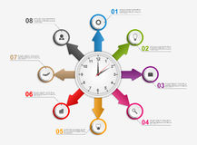 Abstract infographic with arrows and clock in the centre. Design template. Stock Photo