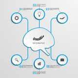 Abstract infographic in the center of the brain. Royalty Free Stock Image