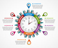 Abstract infographic in the clock in the centre. Can be used for websites, print, presentation, travel and tourism concept. Royalty Free Stock Photography