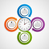 Abstract infographic with colorful arrows and clock in the centre. Design template. Royalty Free Stock Image