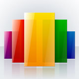 Abstract infographic colorful rainbow shiny. Transparent rectangles with reflections on light gray background. RGB EPS 10 vector illustration Stock Photography