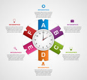 Abstract infographic with colorful ribbons and clock in the centre. Design template. Royalty Free Stock Photos