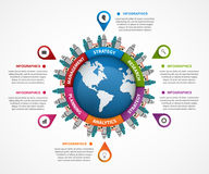 Abstract infographic in the Earth in the centre. Can be used for websites, print, presentation, travel and tourism concept. Design Stock Photo