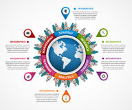 Abstract infographic in the Earth in the centre. Stock Photography