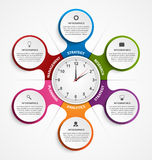Abstract infographic in the form of metabolic and clock in the centre. Design elements. Vector illustration Royalty Free Stock Photography