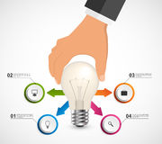 Abstract infographic with human hand holding light bulb banner. Vector illustration Royalty Free Stock Image