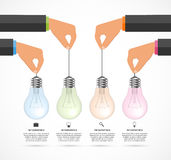 Abstract infographic with human hands holding light bulb banner. Vector illustration Stock Image