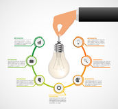 Abstract infographic with light bulb banner. Vector illustration Stock Images