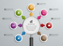 Abstract infographic with a magnifying glass. Royalty Free Stock Photography