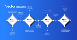 Abstract  infographic template on blue background for success with four  steps  and colorful squares. Business  template with options for  diagram, workflow Royalty Free Stock Photos