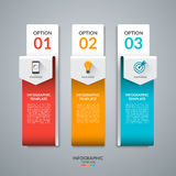 Abstract infographic template in the form of curved paper arrows. Stock Images