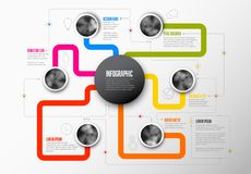 Abstract Infographic Template with main topic in the middle. And another six circle photos around Royalty Free Stock Images