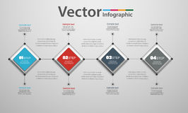 Abstract  infographic template for success with four  steps  and colorful squares. Business  template with options for  diagram, workflow, timeline, web design Stock Images