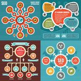 Abstract infographic templates concept banners with icons - vector illustration creative set. SEO layout. Search engine optimization layouts. Graphic design stock illustration