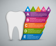 Abstract infographic tooth and colored ribbons. Vector illustration Royalty Free Stock Photos