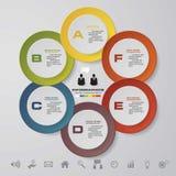 Abstract infographics bedrijfsmalplaatje 6 stappenorde Royalty-vrije Stock Afbeelding