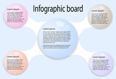 Abstract infographics from colored bubbles. Big bubble in center connected with four colorful bubbles on sides. Used for workflow layout, diagram, banner, web stock illustration