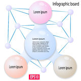 Abstract infographics from colored bubbles. Big bubble in center connected with three colorful bubbles on sides. Used for workflow layout, diagram, banner, web royalty free illustration