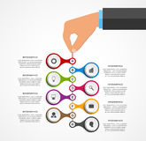 Abstract infographics design template with human hands holding the round blocks. Royalty Free Stock Image