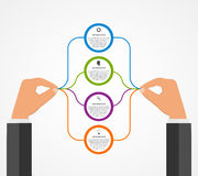 Abstract infographics design template with human hands holding the round blocks. Stock Photos