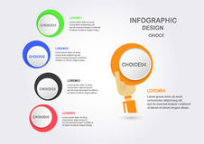 Abstract infographics with hand holding colorful circle box. Stock Photo