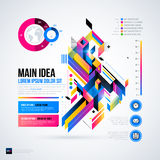 Abstract infographics layout with glossy geometric elements. Royalty Free Stock Photo