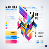 Abstract infographics layout with glossy geometric elements. Stock Images