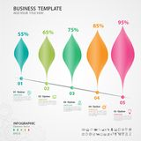 Abstract infographics number options template, chart, diagram, timeline, graph. Abstract infographics number options template, Vector illustration, 5 step Leaves Royalty Free Stock Image