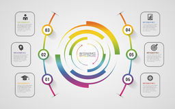 Abstract infographics options banner with 6-part. Vector Royalty Free Stock Image