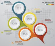 Abstract Infographics 5 steps banner design elements. 5. Step layout template. EPS10 Royalty Free Stock Image