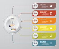 Abstract Infographics 6 steps banner design elements. 6 step layout template. EPS10 Stock Illustration