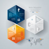 Abstract infographics template design. Abstract infographics template design in hexagon shape Stock Photo