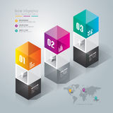 Abstract infographics template design. Abstract infographics template design in glass box shape Stock Photography