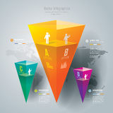 Abstract infographics template design. Abstract infographics template design in glass pyramid shape Royalty Free Stock Photos