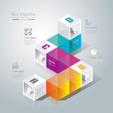 Abstract infographics template design. Abstract infographics template design in glass box shape Stock Photos