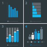 Abstract infographics templates collection. Flat ui design infographics template collection, gray-blue on dark gray background Royalty Free Stock Image