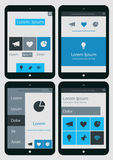 Abstract infographics templates collection on. Flat ui design infographics template collection on Tablet PC Royalty Free Stock Photo