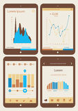 Abstract infographics templates collection on tablet PC Stock Images