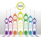 Abstract infographicsmalplaatje met pijlen Infographics zeven o Royalty-vrije Stock Afbeelding