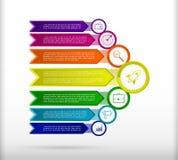 Abstract infographicsmalplaatje met pijlen Vlakke Ontwerpelementen stock illustratie