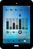 Abstract infographicsmalplaatje op vage achtergrond, met tabletpc Stock Afbeeldingen
