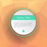 Abstract inforgraphics options. With polygonal background. Vector illustration for games presentations, ui tablets, smart phones Royalty Free Stock Photos